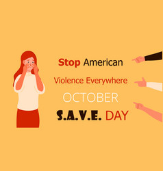 Stop american violence everywhere is organized in vector