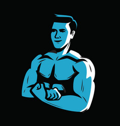 Strong and muscular bodybuilder weightlifting vector