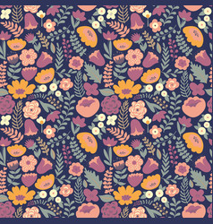 Stylized flowers seamless pattern for design and vector