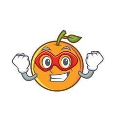 super hero orange fruit cartoon character vector image