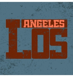 T shirt typography Los Angeles CA blue vector