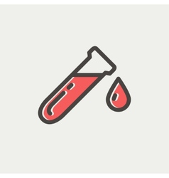 Test tube with water drop thin line icon vector