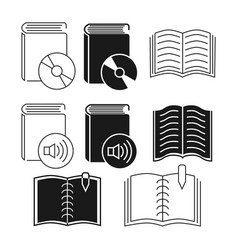 thin line and outline book icons collection vector image