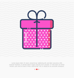 thin line icon gift box or present for birthday vector image