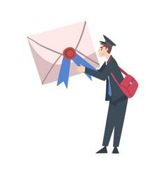 tiny postman holding huge envelope postal service vector image