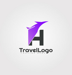 Travel agent logo design with initials h letter vector