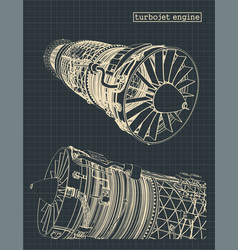 turbojet engine vector image