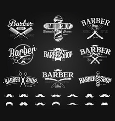 Typographic barber shop emblems chalk drawing vector