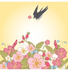 Vintage flowers background with bird vector