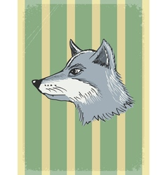 Vintage grunge background with wolf vector