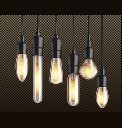 vintage incandescent bulbs realistic set vector image