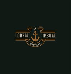 vintage nautical anchor logo vector image