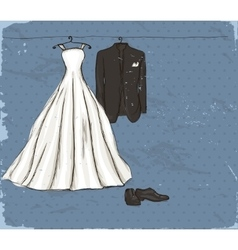 Vintage poster with with a wedding dress vector image