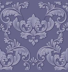 volumetric damask seamless pattern element vector image