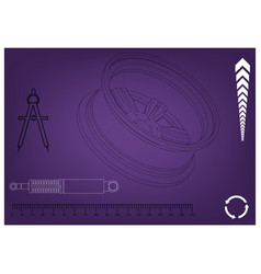 Wheel and shock absorber on a purple vector