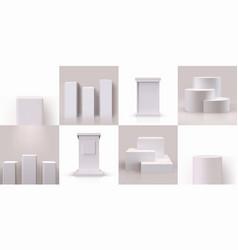 White pedestal empty 3d block podium stage vector