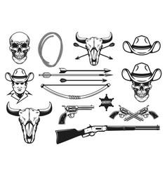wild west design elements cowboy weapon hat lasso vector image