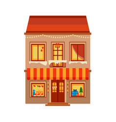 Winter image of the city christmas shop vector