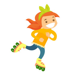 young caucasian white girl riding on roller skates vector image