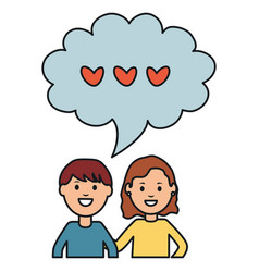 young couple with speech bubbles and hearts vector image