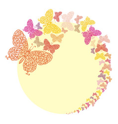 frame with butterflies on yellow vector image