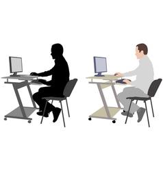 Man working on his desktop computer vector
