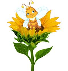queen bee on sunflower vector image