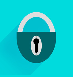 robust dark green padlock on a blue background vector image vector image