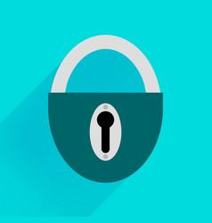 robust dark green padlock on a blue background vector image