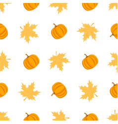 seamless pattern with leaves and pumpkins vector image vector image