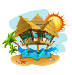 water bungalow vector image