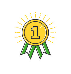business of gold badge medal vector image