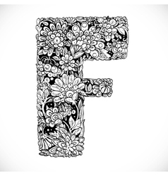Doodles font from ornamental flowers - letter f vector