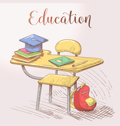 Hand drawn education concept with desk and books vector