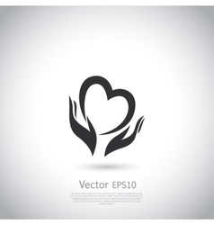 Hands holding heart symbol sign icon logo vector image