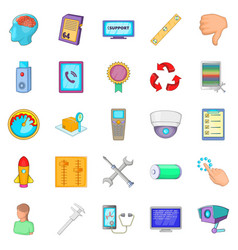 remote support icons set cartoon style vector image vector image