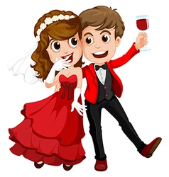 A couple who just got married vector image