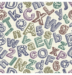 Abstract doodle font seamless pattern vector image vector image