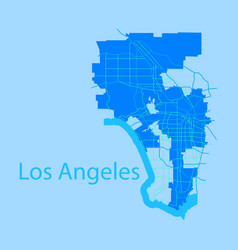 Los angeles map flat style design vector