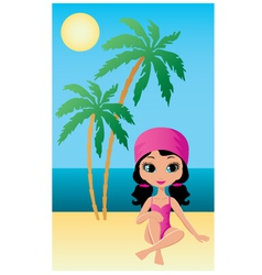 pretty girl on beach vector image vector image