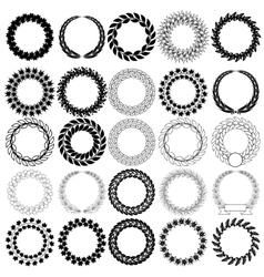 Set black laurel wreath on the white background vector image vector image