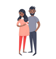 young couple hand drawn black pregnant woman and vector image