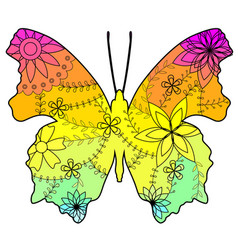 butterfly with transition colors vector image vector image
