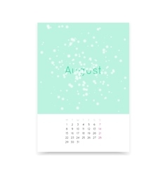Calendar Page For August 2016 vector image vector image
