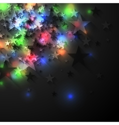 Colorful glowing luminous stars on dark background vector image