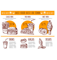 pictures of bistro menu restaurant fast vector image vector image