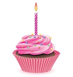 pink cupcake vector image