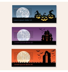 Set of three Halloween banners vector image
