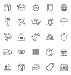 Shipping line icons on white background vector image vector image