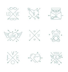 Valentine day design hipster style icon set vector image vector image